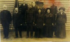Salvation Army Members – Bega (date unknown) Back L-R Spindler, Jones, Spindler, ? Front L-R George Herbert Jaggers, Rood, Capt Ray, Mrs Ray...