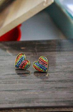 Betsey Johnson '60s Mod Rainbow Heart Stud Earrings #accessories  #jewelry  #earrings  https://www.heeyy.com/suggests/betsey-johnson-60s-mod-rainbow-heart-stud-earrings-multi/
