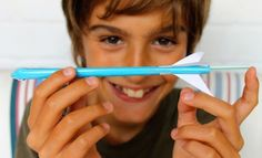 Make easy straw rockets with straw rocket template.