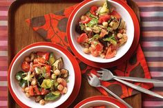 Chickpeas make this hearty dish even more gratifying. A half cup of the high-fiber legumes daily can cut your consumption of fatty foods.