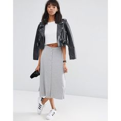 ASOS Midi Skater Skirt with Poppers (€29) ❤ liked on Polyvore featuring skirts, grey, circle skirt, asos skirts, mid calf skirts, gray skirt and skater skirt