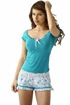 Women's Clothing: and Sets: Adriana Arango High Quality White and Blue Floral Print Pajama Set: Clothes Pajama Outfits, Girl Outfits, Cute Outfits, Fashion Outfits, Womens Fashion, Cute Sleepwear, Lingerie Sleepwear, Nightwear, Cute Pjs
