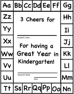 Color-able Kindergarten end of year Certificate.