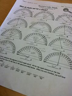 Practice reading protractors to form the answer to a riddle.  Fun and math at the same time!