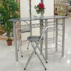 ensemble table de cuisine type bar et 2 chaises pliantes pour kitchenette ou studio