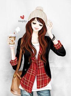 Lovely Girl – Sognando i Sogni… Korean Anime, Korean Art, Cute Korean, Lovely Girl Image, Girls Image, Girl Cartoon, Cute Cartoon, Fashion Art, Girl Fashion