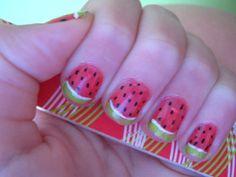 chloecat3deviantart, nail art, nails, watermelon