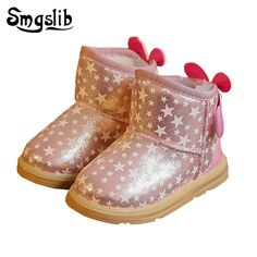 8df9c16c16d14 Toddler girls boots kids light up shoes Princess girls snow boots kids  winter with fur Thick Warm children ankle high boots