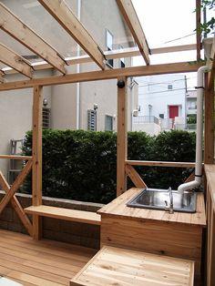 ポリカ2 Pergola Patio, Backyard Landscaping, Wood Deck Plans, Lean To Greenhouse, Greenhouse Ideas, Wood Store, Home Board, Diy Deck, House Rooms