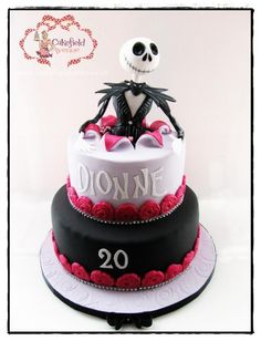 I am so excited I can finally share with you the first of this week's cakes. I enjoyed making it so much! Pina Colada Cake for gorgeous Dionne to celebrate her Birthday! Fondant Cakes, Cupcake Cakes, Cupcakes, Jack Skellington Cake, Nightmare Before Christmas Cake, Pina Colada Cake, Artist Cake, Gateaux Cake, Character Cakes