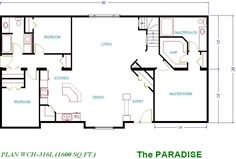 one level house plans with three bedrooms | House plans, home plans and new home designs, including floor plan