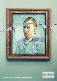 van_gogh メガネをかけると有名的な絵画も、写真のようにみえてしまうという、メガネの広告デザイン。