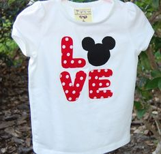 Love Mickey Applique T-shirt. What an adorable Valentines shirt!!!