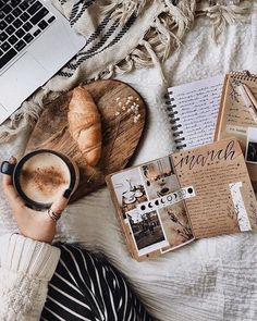 Art journaling, coffee latte, croissant and a comfy bed momento cafe, coffe Cozy Aesthetic, Autumn Aesthetic, Brown Aesthetic, Flat Lay Photography, Coffee Photography, Photography Books, Book And Coffee, Coffee Corner, Momento Cafe