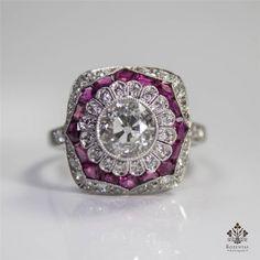 Art Deco Platinum 1.89ct Diamond Ruby Ring   $6750 on 8/15