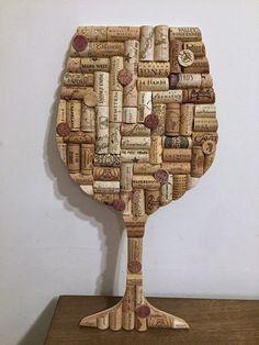 Wine Glass Cork Art - Upcycled Home Decor - Wine Cork Wall Art - Wine Gifts - Wine Cork Art - Wine Decor - Housewarming Gift - Bar Decor Wine Craft, Wine Cork Crafts, Wine Bottle Crafts, Wine Bottles, Bottle Candles, Soda Bottles, Wine Corker, Wine Cork Projects, Wine Wall Art