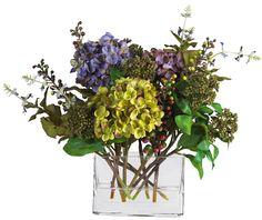 NearlyNatural Mixed Hydrangea Silk Flower Arrangement with Rectangle Vase