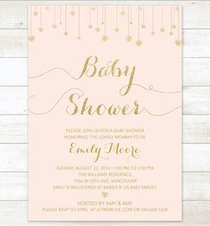 pink and gold baby shower invitation blush by pinkdahliaprintable