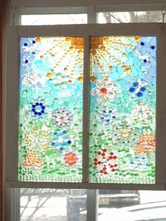 Sea Glass Window looks like stained glass Sea Glass Crafts, Sea Glass Art, Seashell Crafts, Mosaic Projects, Stained Glass Projects, Mosaic Ideas, Mosaic Art, Mosaic Glass, Window Art