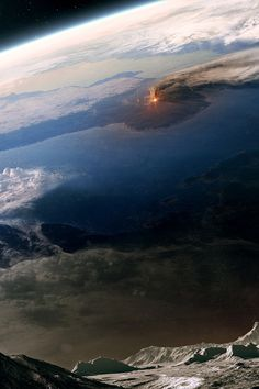 Earth with volcano erupting as seen from space.