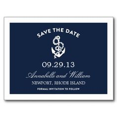 NAUTICAL ANCHOR | SAVE THE DATE POST CARD #fineanddandypaperie