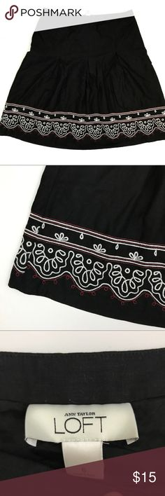 LOFT Embroidered Boho Linen Skirt Lightweight linen/cotton blend and on-trend embroidery make this a perfect skirt for summer! Gently worn, no flaws. Dry clean only. LOFT Skirts
