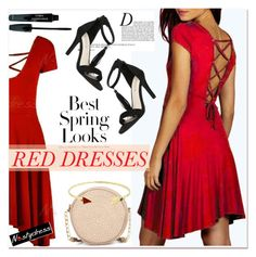 """Hot Red Dress"" by paculi ❤ liked on Polyvore featuring H&M, Anja, Neiman Marcus, women's clothing, women, female, woman, misses, juniors and reddress"