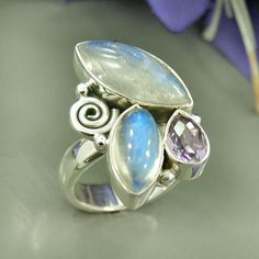 Top Grade Rainbow Moonstone & Amethyst Gemstone by Silvergem2014, $45.20