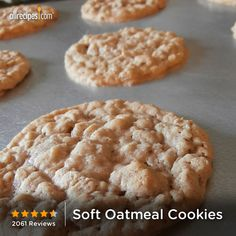 """Soft Oatmeal Cookies 