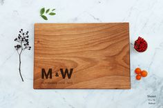 Personalized Monogram Large Wooden Cutting Board, Engraved Custom Engagement Gift, Couples Wedding Gift, Engraved Names Bridal Shower Gift