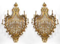 French Empire lighting sconces bronze dore