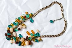 Gorgeous Teal Blue and Brown Statement Necklace by EdasDesign