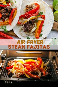 Air Fryer Steak Fajitas is easy on prep yet big on taste. Your favorite Tex-Mex dish turns out juicy and flavorful in under 30 minutes. Perfect for busy weeknight dinners! #30minutemeals #airfryerrecipes #beefrecipes #texmex Air Fryer Dinner Recipes, Air Fryer Recipes, Easy Dinner Recipes, Dinner Ideas, Delicious Recipes, Vegan Recipes, Yummy Food, Lamb Recipes, Steak Recipes