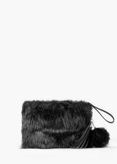 Faux fur textured clutch
