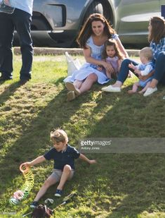 Prince George of Cambridge, Catherine, Duchess of Cambridge and Princess Charlotte of Cambridge during the Maserati Royal Charity Polo Trophy at Beaufort Park on June 10, 2018 in Gloucester, England.