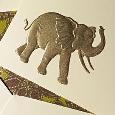 """Hand Engraved Elephant Correspondence Cards: A symbol of wisdom and strength in Asian culture, the elephant was described by Aristotle as """"the beast which passeth all others in wit and mind."""" Should you encounter one with her trunk toward the sky, tradition suggests you should relish in the notion that good luck will follow. Hopefully involving this card nestled somewhere in your post pile."""