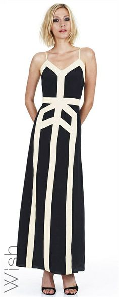 Chalice Maxi  Step out into the night wearing your new Wish Chalice Maxi. This art-deco inspired masterpiece is crafted from gorgeous silk and features spectacular bold stripe detail.  100% Silk #WishDesigns