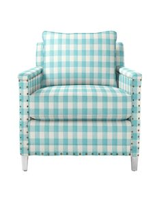 Spruce Street Chair in Turquoise Gingham