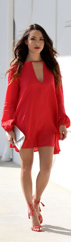 Shein Red Dress   Charlotte Russe Lace Up Heels /   Fashion Look by Hapa Time