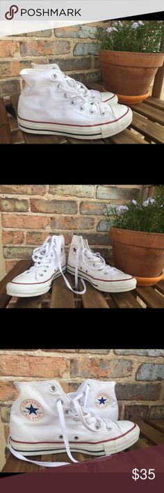 Converse High Tops Optic White W8, M6 Gently used, worn 2x, with a box Converse Shoes Sneakers