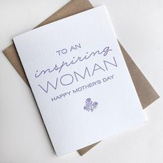 Letterpress Mother's Day Card – Inspiring Woman - Modern Mothers Day Cards, Happy Mothers Day, Inspirational Posters, 8th Of March, Custom Items, Letterpress, Envelope, Greeting Cards, Place Card Holders