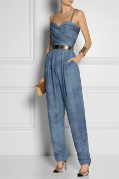 Balmain | Tie-dyed silk-chiffon jumpsuit | Isabel Marant | Dallan striped metallic leather belt | Antonio Berardi for Rupert Sanderson | Gilia suede and PVC pumps | Nancy Gonzalez | Gold Crocodile Kiss Lock Box Clutch |