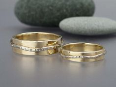 14k Gold River Wedding Set. Hammered yellow gold bands with white gold rivers. 4mm and 6mm widths. Love is a River.   Code: 10PERCENT for 10% off at MedallionTradingCompany.com
