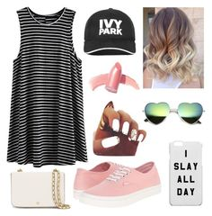 """""""Slayin' caps"""" by ratliffally ❤ liked on Polyvore featuring Vans, Ivy Park, Tory Burch, Elizabeth Arden, baseballcap and baseballhats"""