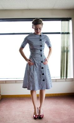 Shabby Apple black and white houndstooth dress