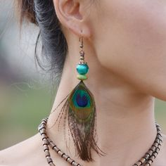 Vintage Peacock Feather Drop Earrings