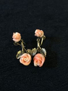 800 SILVER VERMEIL CARVED ANGEL SKIN CORAL ROSE DROP SCREW BACK EARRINGS. EXCELLENT CONDITION.