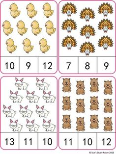 Farm Animals Count and Clip Cards (Numbers by Sue's Study Room Flashcards For Kids, Kindergarten Math Worksheets, Preschool Learning Activities, Preschool Activities, Numbers Preschool, Math Numbers, Math For Kids, Math Centers, Farm Animals