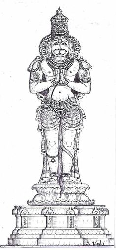 Hanuman sketch for making sculpture south indian style
