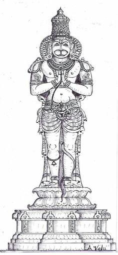 Hanuman sketch for making sculpture south indian styles Kerala Mural Painting, Tanjore Painting, Indian Art Paintings, Kalamkari Painting, Outline Drawings, Art Drawings, Zentangle, Lord Vishnu Wallpapers, Krishna Art